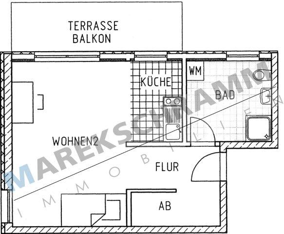 1-Raumwohnung in neu gebauter Appartementanlage im Obergeschoss direkt auf dem Campus und Zugang  zum Uninetz FEM e.V.