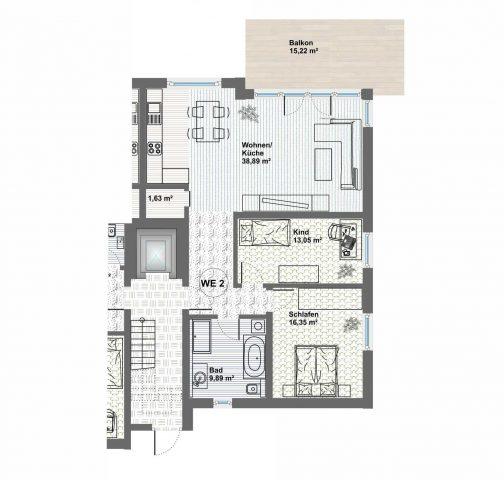 Erstbezug in exklusive 3-Zimmerwohnung in neu gebauter Wohnanlage am Ilmufer