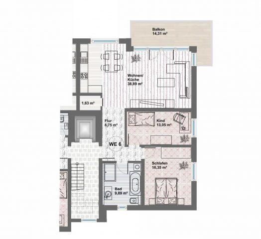exklusive 3-Zimmerwohnung mit neuer moderner Einbauküche (hochwertige Elektrogeräte), Möbel im Badezimmer und zwei Tiefgaragenplätze inklusive Mietpreis!!!  in neu gebauter Wohnanlage am Ilmufer