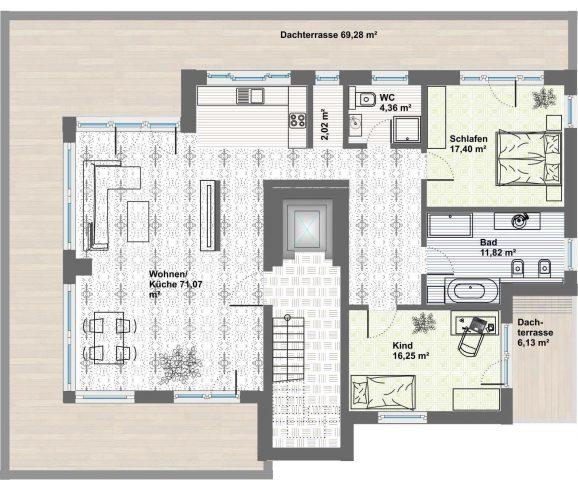 Erstbezug in exklusive Penthouse-Wohnung mit zwei Dachterrassen (traumhafter Rundblick) in neu gebauter Wohnanlage am Ilmufer